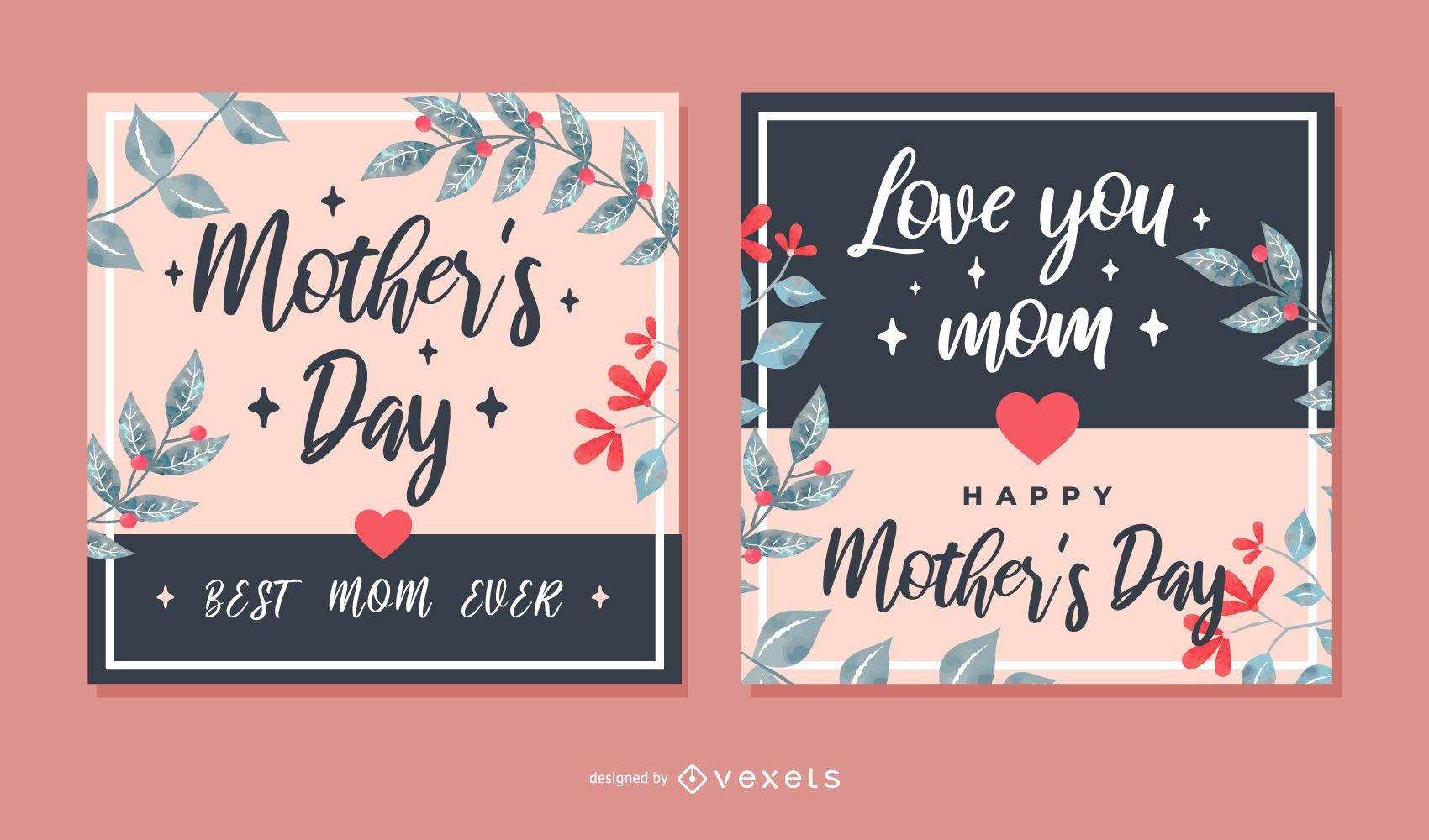 Conjunto de tarjeta de felicitaci?n cuadrada del d?a de la madre