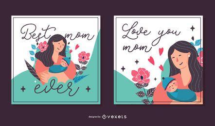 Paquete de tarjetas cuadradas del día de la madre