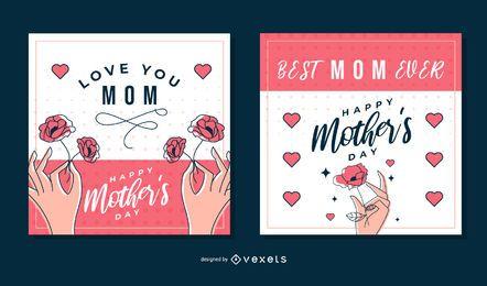 Pacote de cartão quadrado de dia das mães