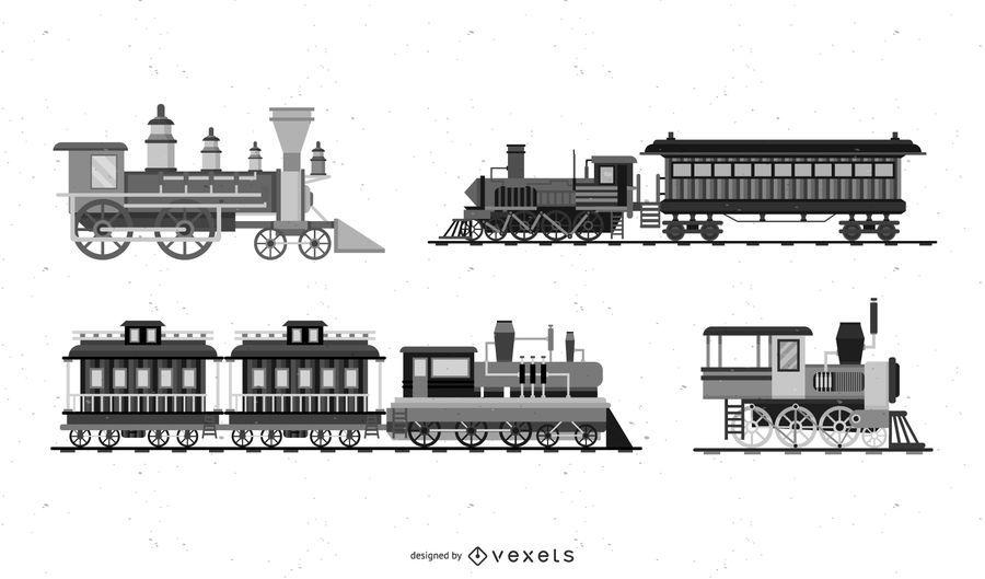 10 gráficos vectoriales de tren