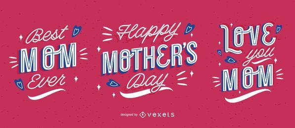 Paquete de letras del día de la madre feliz