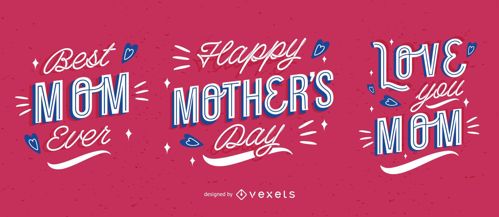 Paquete de letras feliz día de la madre