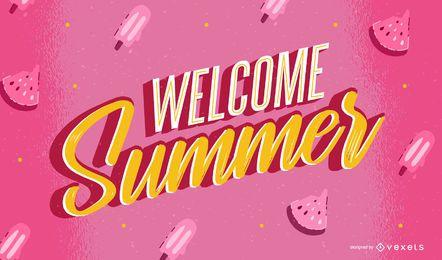 Willkommen Sommer Schriftzug Design