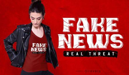 Design de t-shirt de ameaças reais de notícias falsas