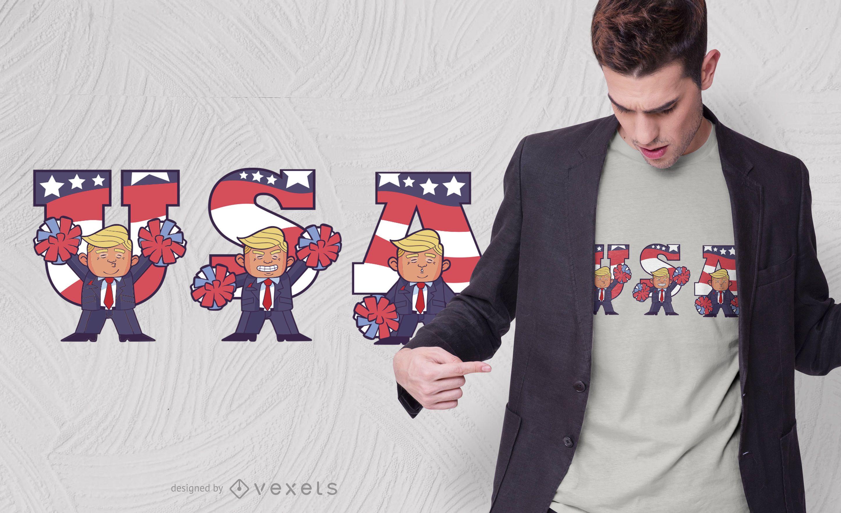 Diseño de camiseta USA Trump Cartoon