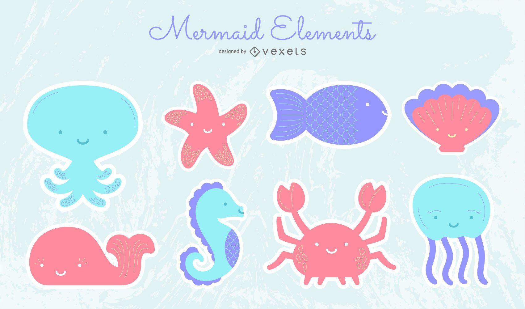 Cute mermaid elements set