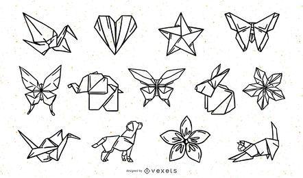 Paquete de diseño de trazos de Origami Nature Elements