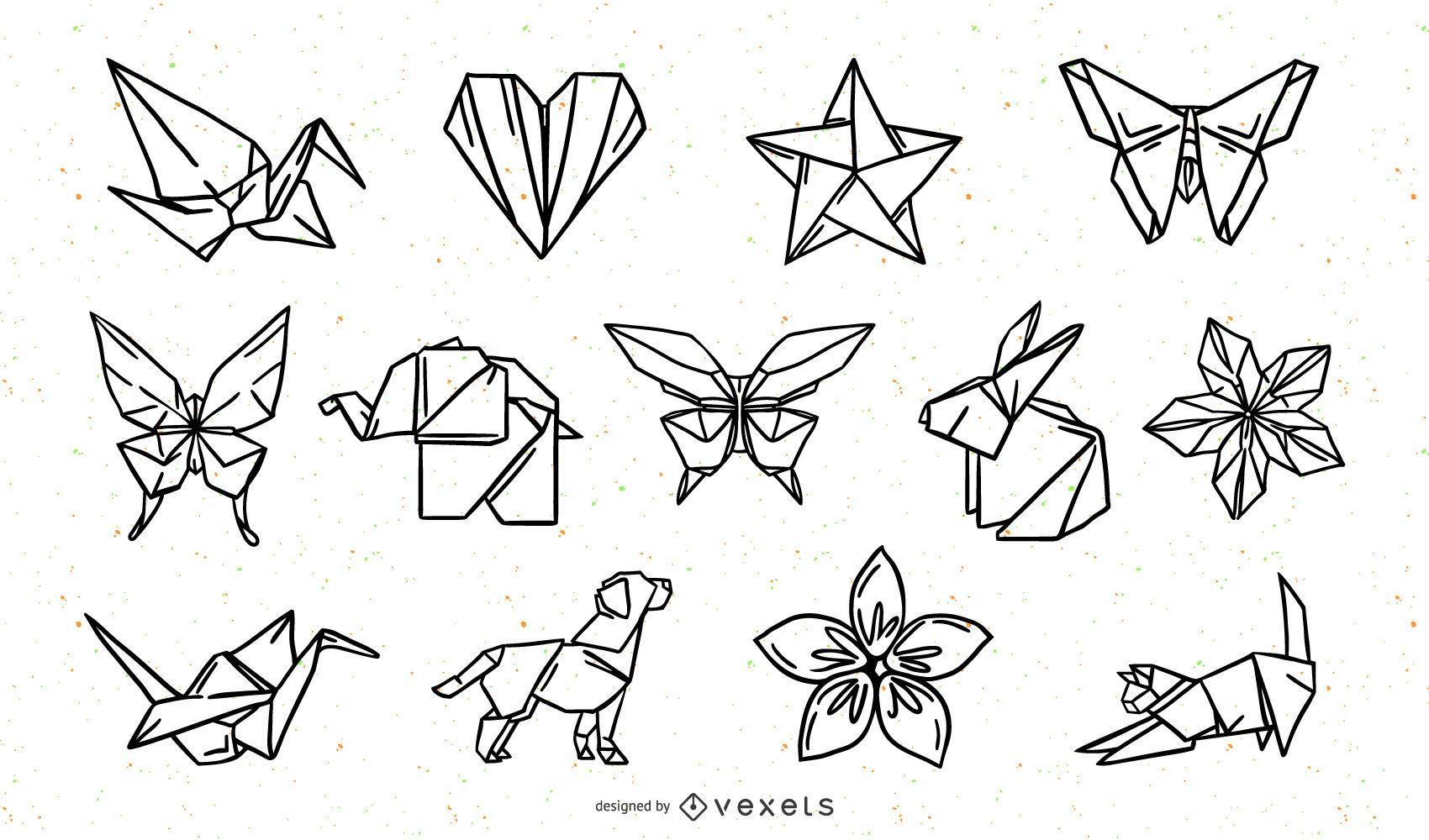 Paquete de diseño de trazo de elementos de la naturaleza de origami