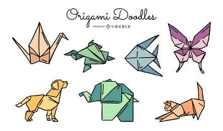 Pacote de ilustração colorida de animais de origami