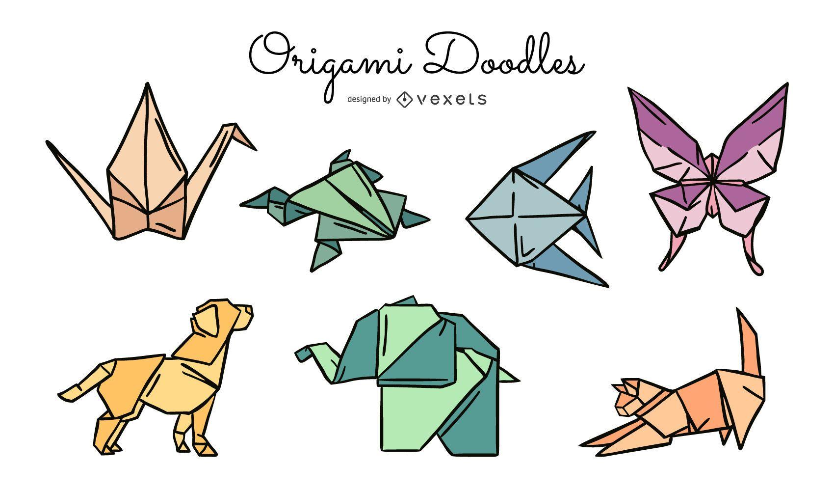 Pacote de ilustra??o colorida de animais de origami