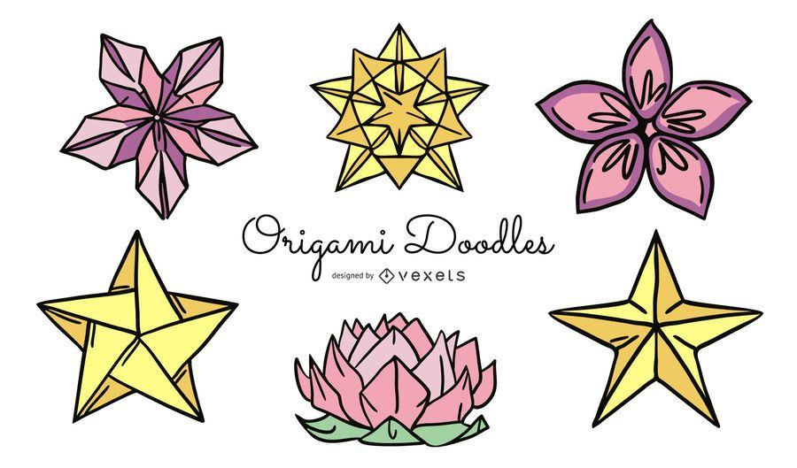 Paquete de ilustración de flores de origami