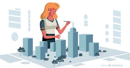 Weiblicher Urbanist Character Design