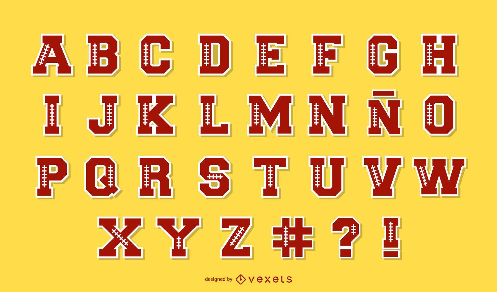 Pacote de letras do alfabeto de futebol