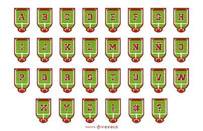 Pacote de letras de banner de alfabeto de futebol
