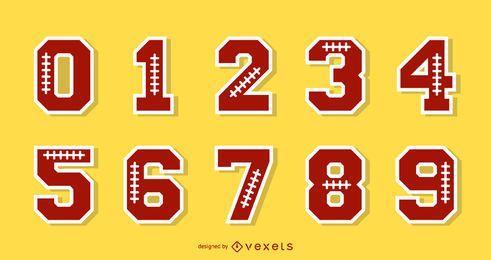 Conjunto de números de alfabeto de futebol