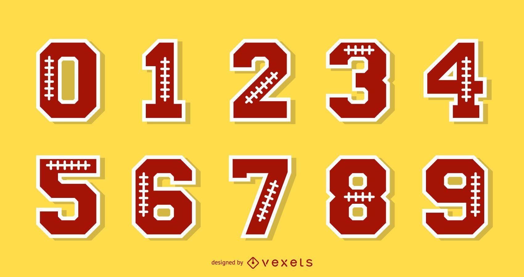 Conjunto de números do alfabeto de futebol