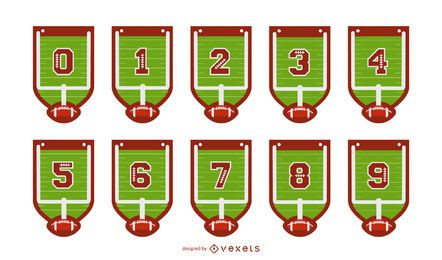Football Banner Number Set