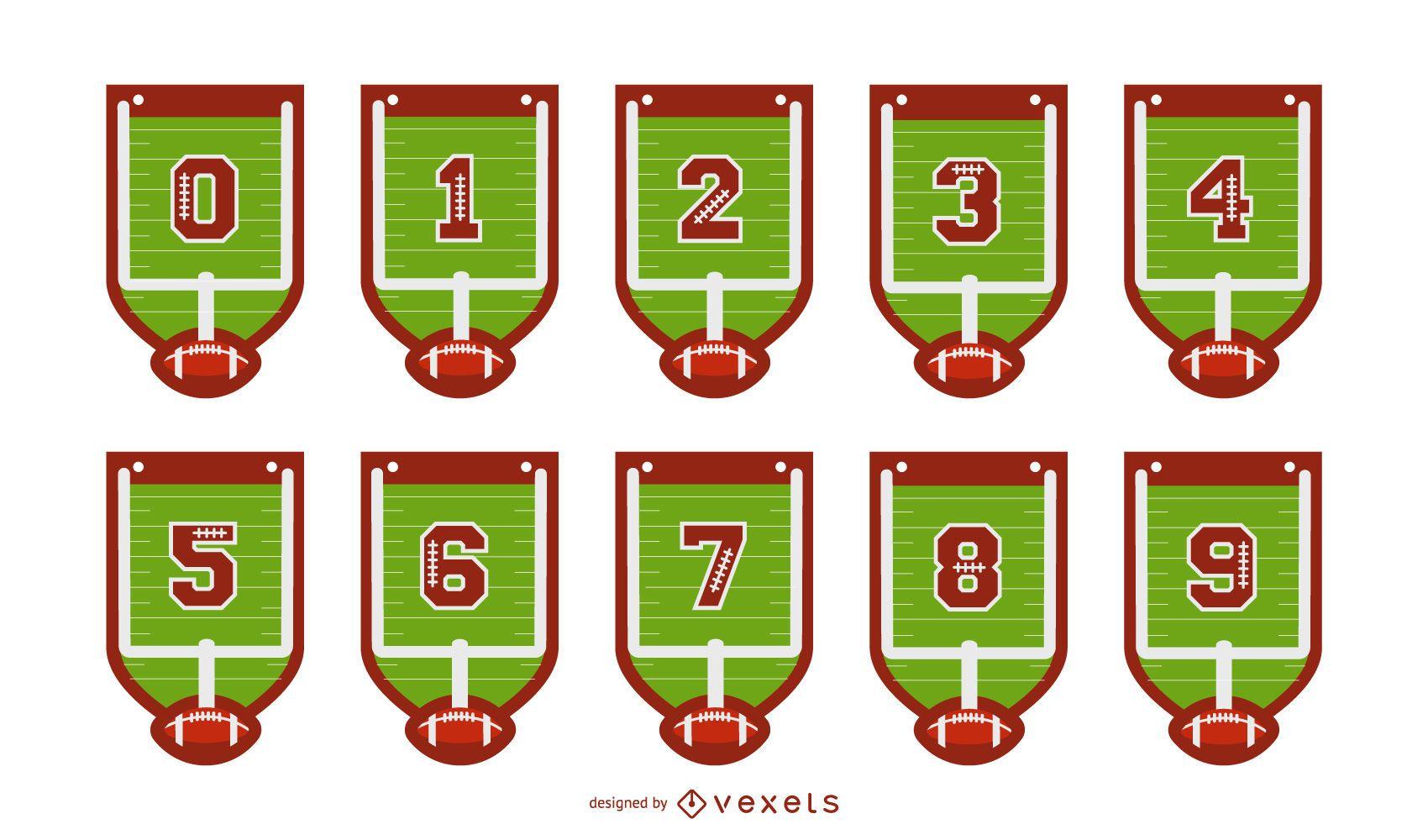 Conjunto de números de banner de fútbol