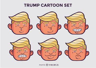 Pacote de personagem de desenho animado de cabeça de trunfo