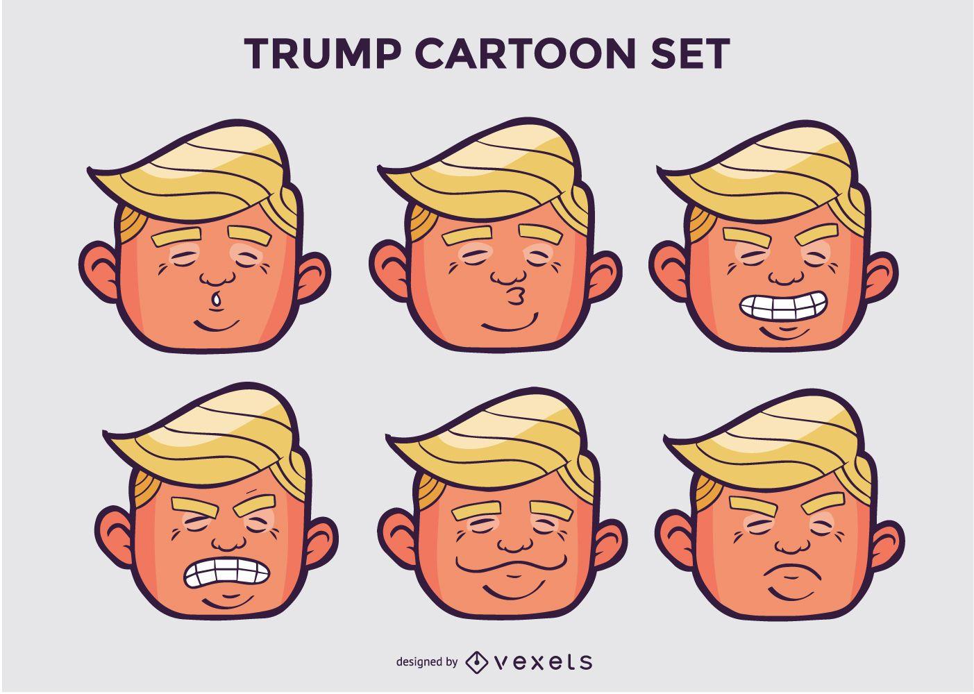 Paquete de personajes de dibujos animados de Trump Head