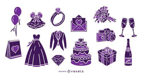 Pacote de design de silhueta de casamento