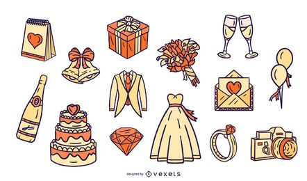 Hochzeit Illustrated Elements Design Pack