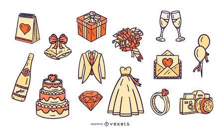 Pacote de design de elementos ilustrados de casamento