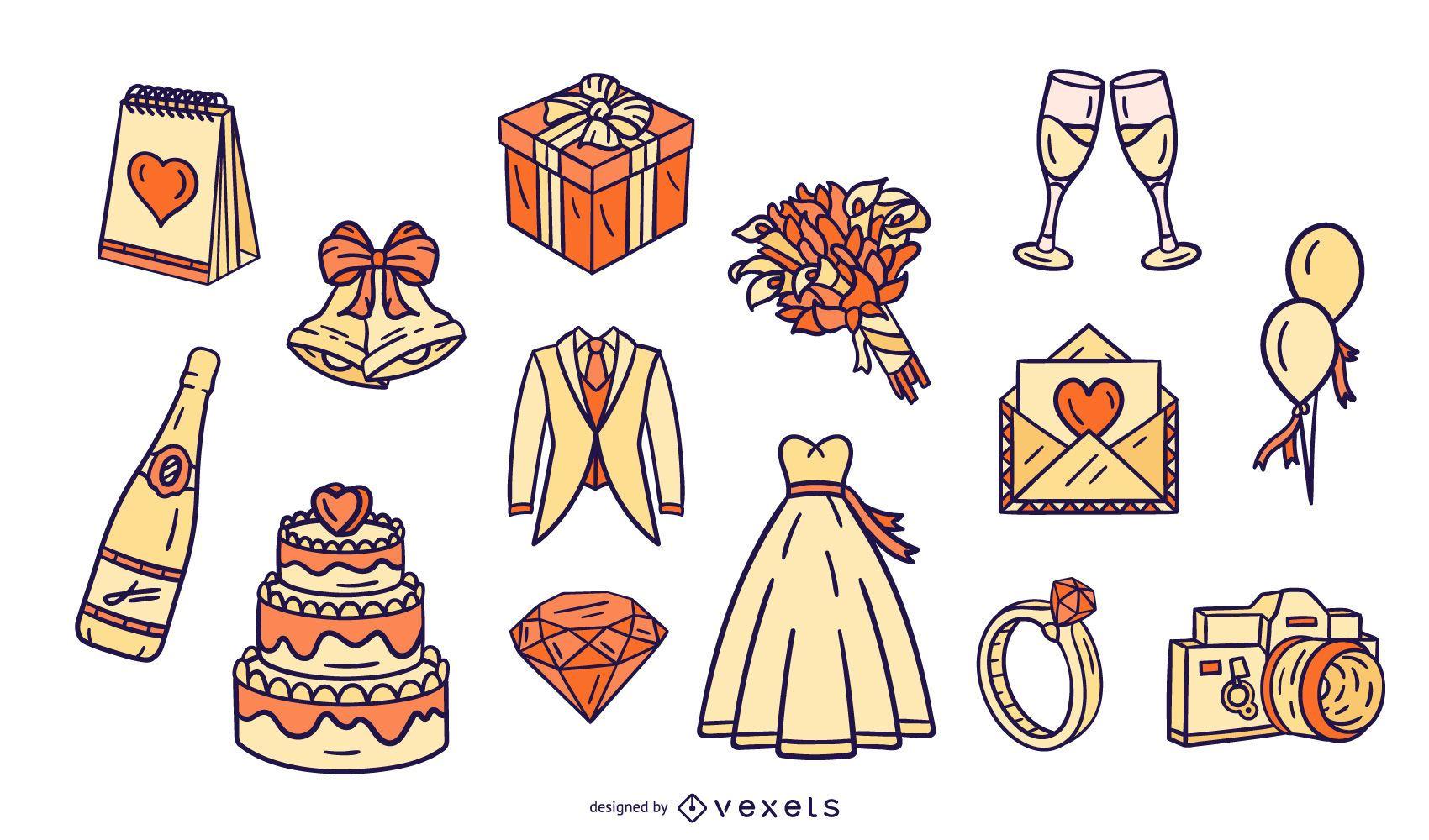 Paquete de diseño de elementos ilustrados de boda