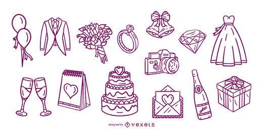 Pacote de elementos de traços desenhados à mão para casamento