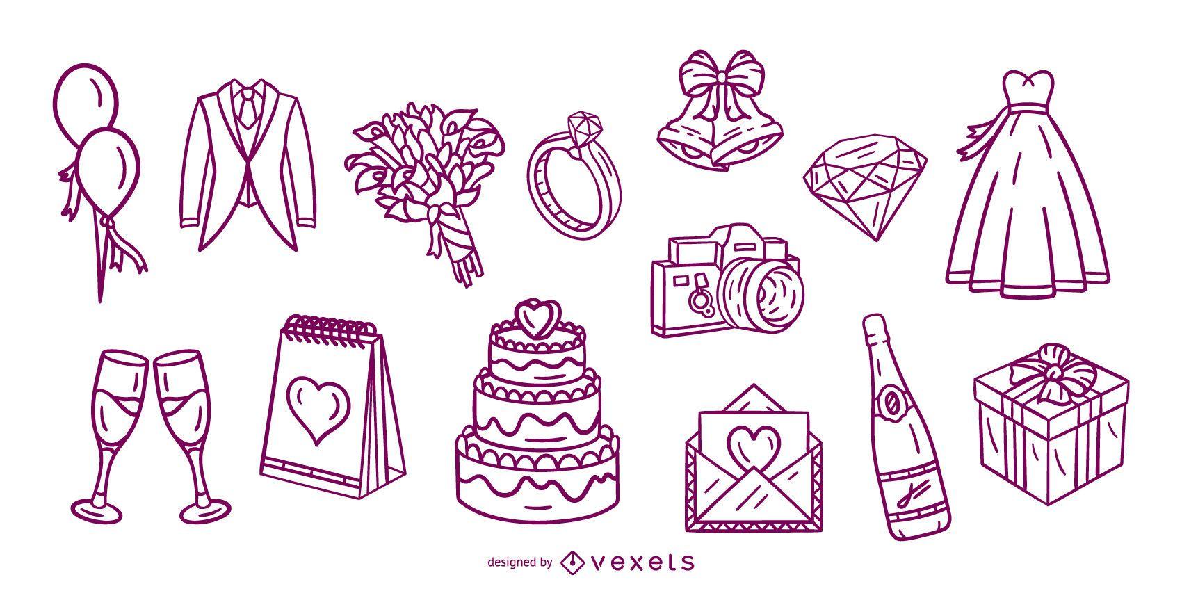 Paquete de elementos de trazo dibujado a mano de boda