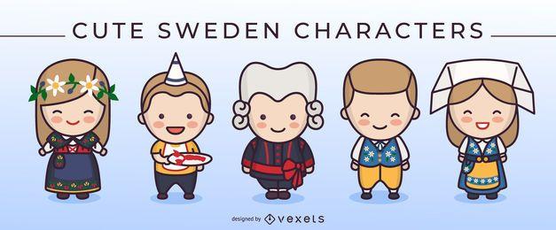 Lindo paquete de personajes de dibujos animados de Suecia