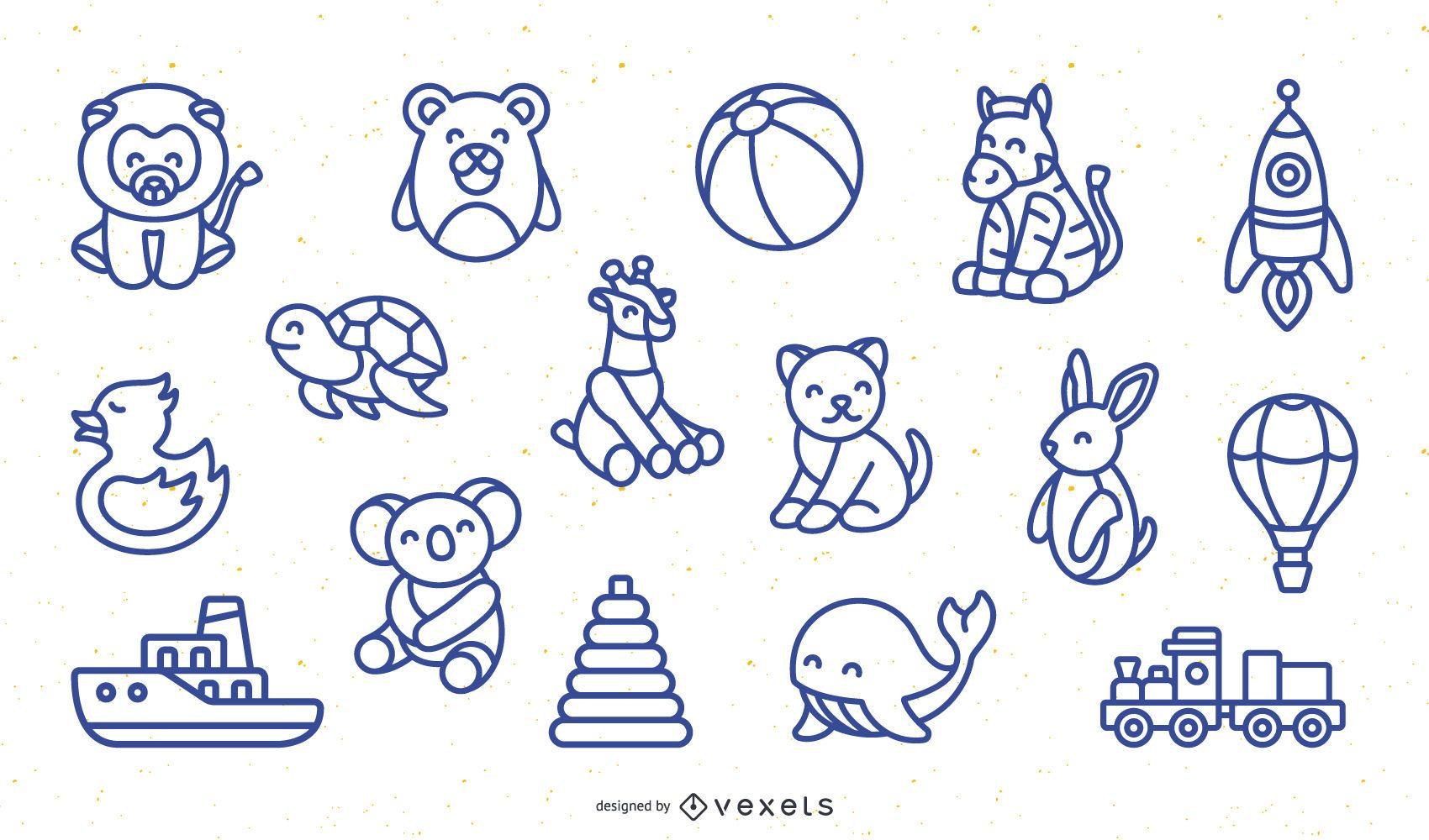 Paquete de diseño de juguetes de trazo simple