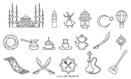 Paquete de diseño de trazos de Istanbul Elements