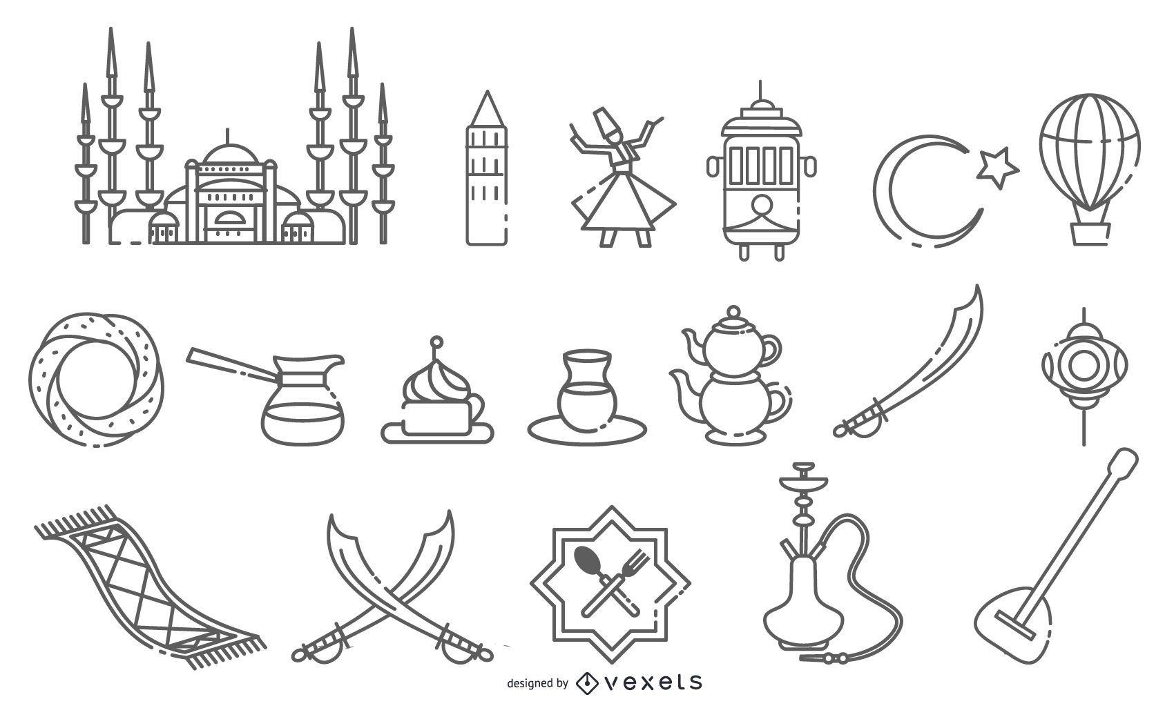 Paquete de diseño de trazo de elementos de Estambul