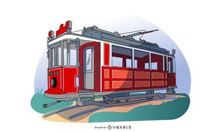 Ilustração de transporte de vagão de bonde