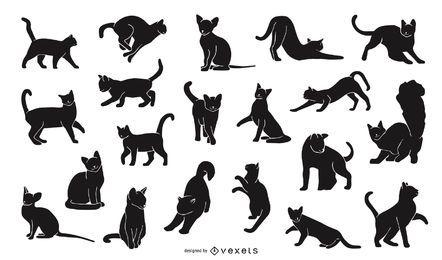 Pacote de design de silhueta de gato