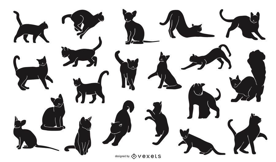 Paquete de diseño de silueta de gato