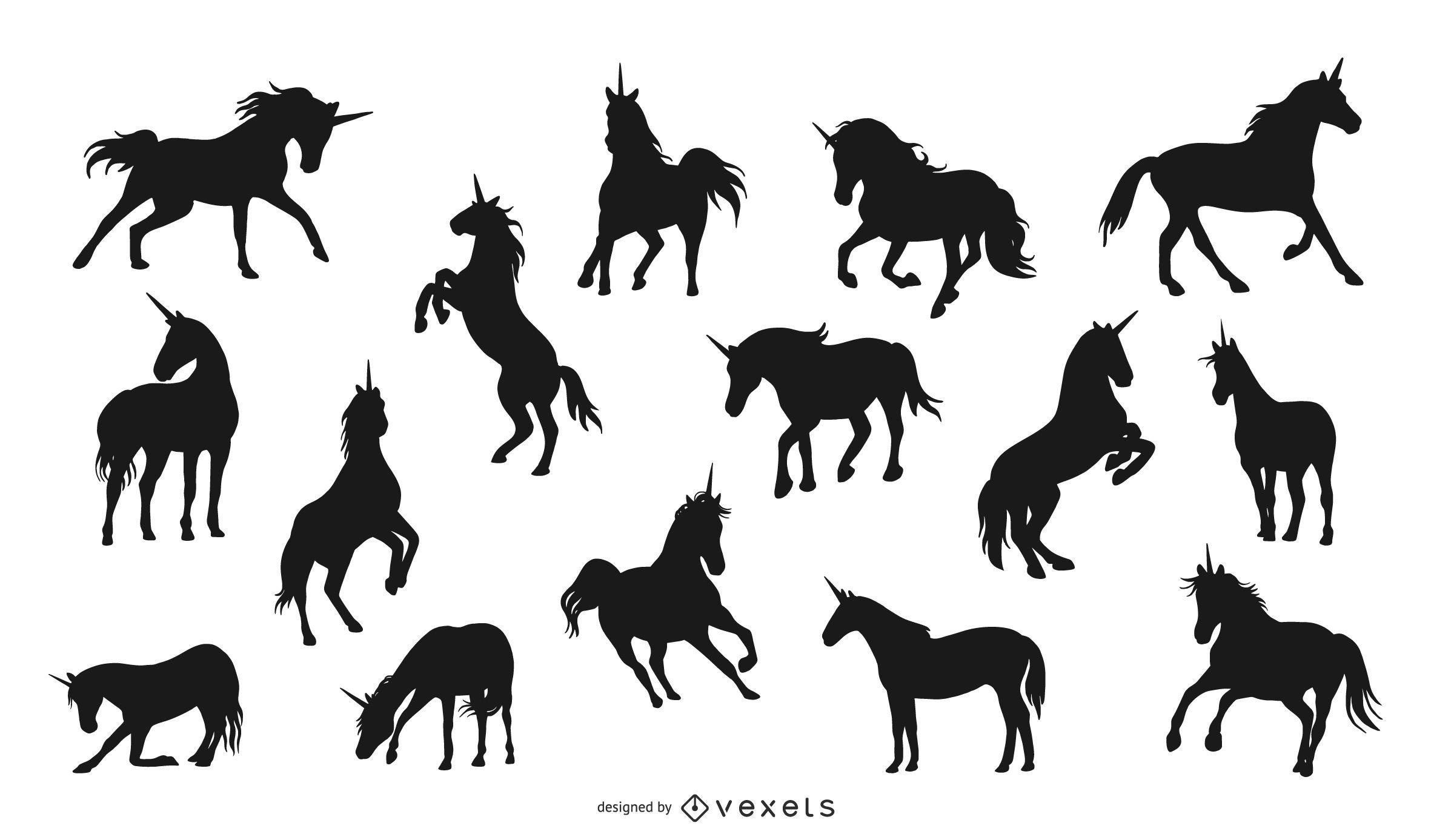Colección de silueta de unicornio