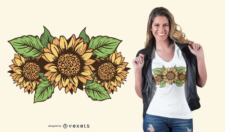 Diseño de camiseta de flores de leopardo.