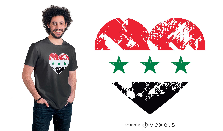 Diseño de camiseta de corazón de bandera de Irak