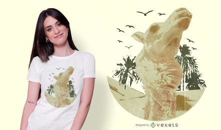 Design de camiseta realista de camelo