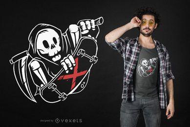 Design de camiseta do patinador do Grim Reaper
