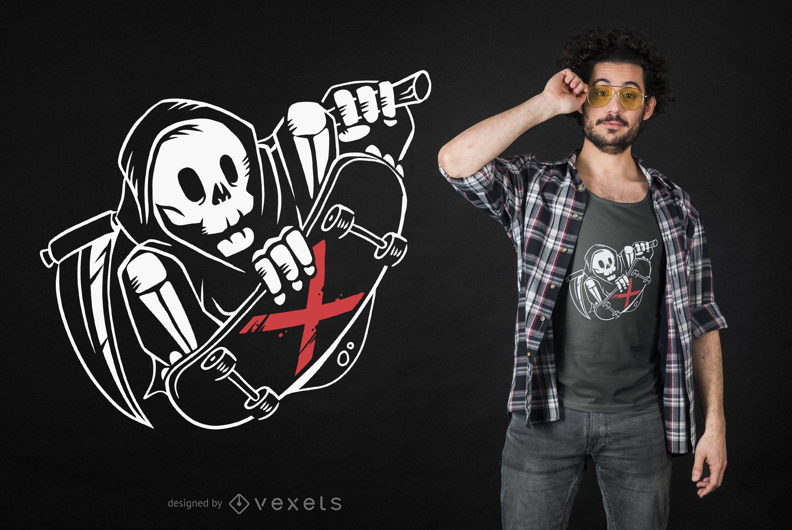Diseño de camiseta Grim Reaper Skater