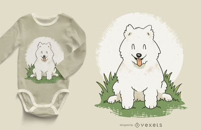 Diseño de camiseta Happy Samoyed Puppy