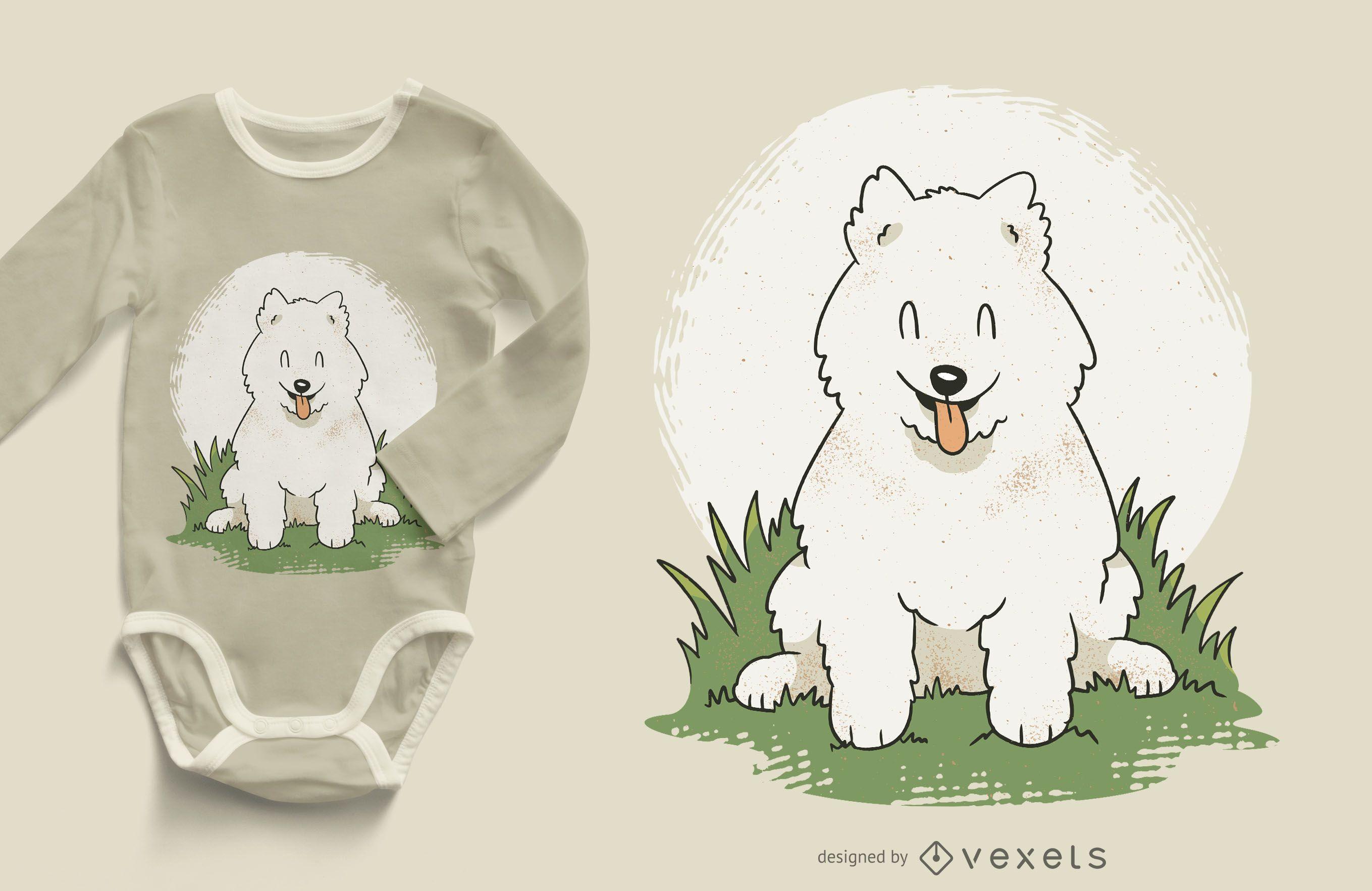 Happy Samoyed Puppy T-shirt Design