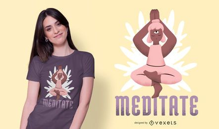 Meditiere Charakter T-Shirt Design