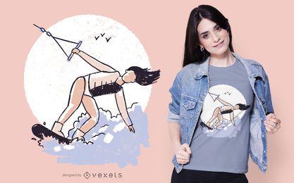 Design de t-shirt de menina Wakeboarding