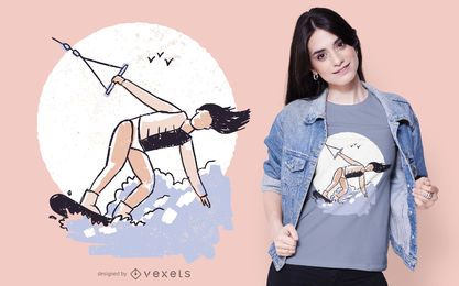 Wakeboarding Girl T-shirt Design