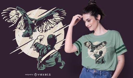 Design de t-shirt de ilustração de falcoaria