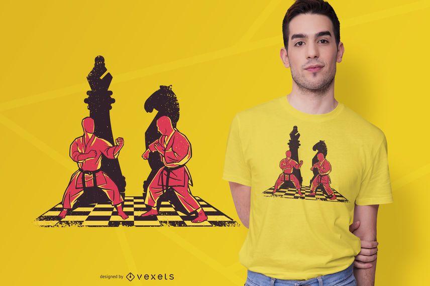 Artista marcial peças de xadrez design de t-shirt